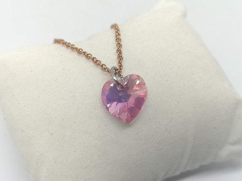Collana ciondolo cuore swarovski rosa