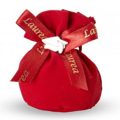 Sacchetto rosso tondo con applicazione Laurea