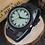 Thumbnail: Orologio in legno naturale e cuoio nero con interno verde