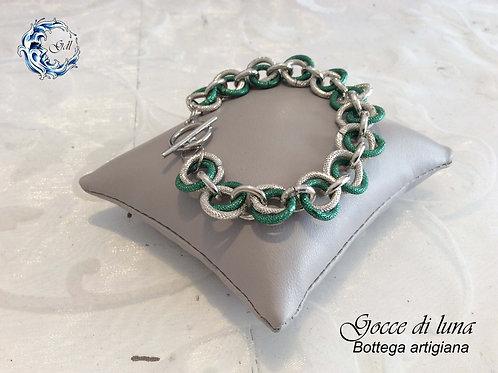 Bracciale verde e argento