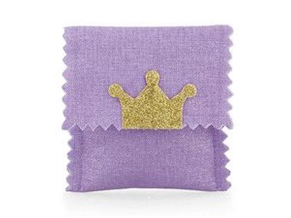 Sacchetto bustina poliestere viola con corona