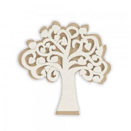 Applicazione bomboniera albero della vita bianco in legno