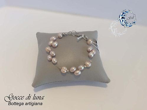Bracciale perle rosa malva e filo trasparente