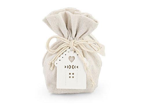Sacchetto cotone chiaro con casetta