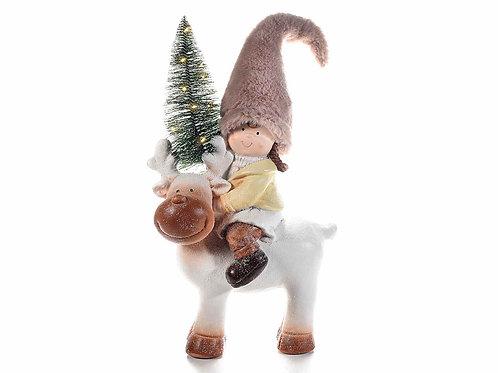 Bimba su renna ceramica con cappello modellabile e pinetto con luce