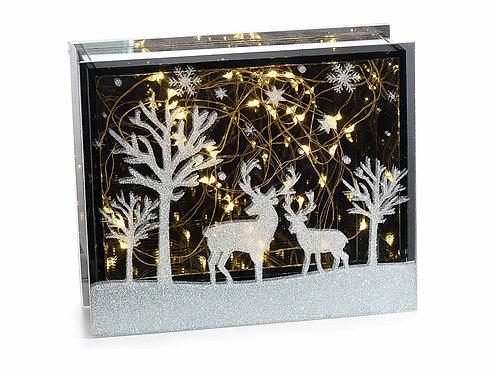Lampada specchio in vetro luci led bianco caldo e glitter orizzontale