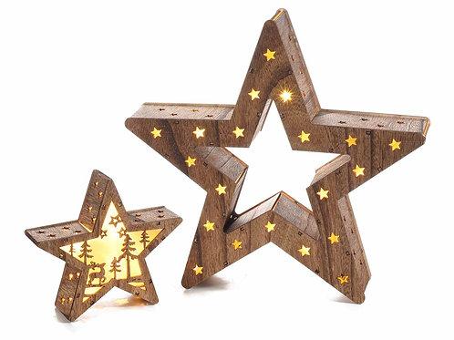 Set 2 stelle in legno laser intersecabili con luce led bianco caldo