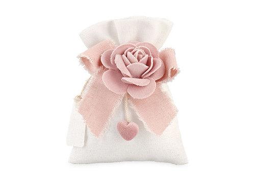 Sacchetto bianco con rosa rosea