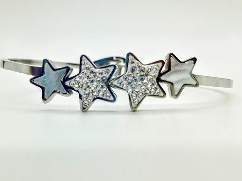 Bracciale rigido argento stelle smaltate e strass