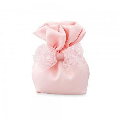 Sacchetto rosa con fiocco in tulle