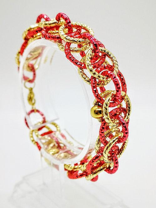 Bracciale oro e rosso con Corniola rossa striata