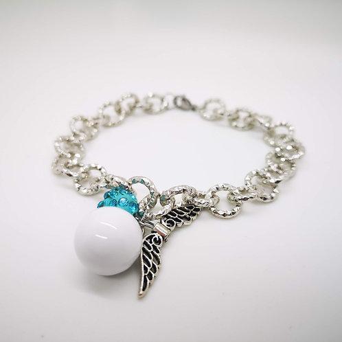 Bracciale chiama angeli smaltato bianco strass azzurro mod.2