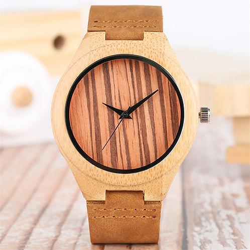 Orologio in legno naturale chiaro cinturino cuoio naturale