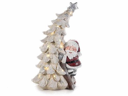 Babbo Natale in ceramica colorata con albero e luci LED