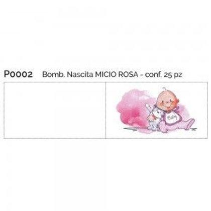 Bigliettino nascita micio rosa