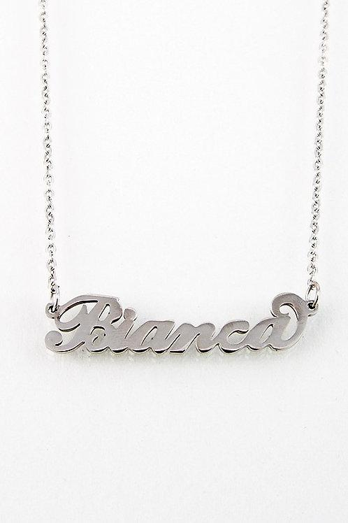 Collana con nome Bianca acciaio inossidabile Possibilità di 180 nomi
