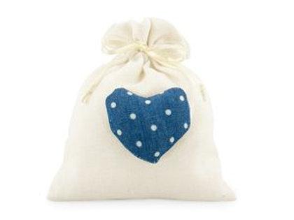 Sacchetto cotone con cuore blu