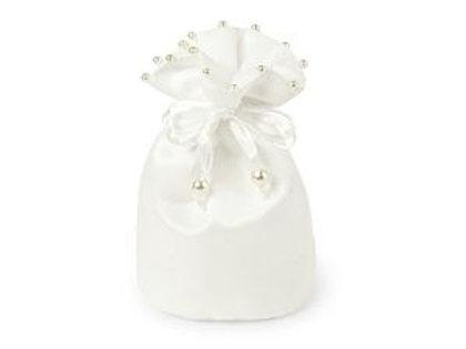 Sacchetto bianco con perline