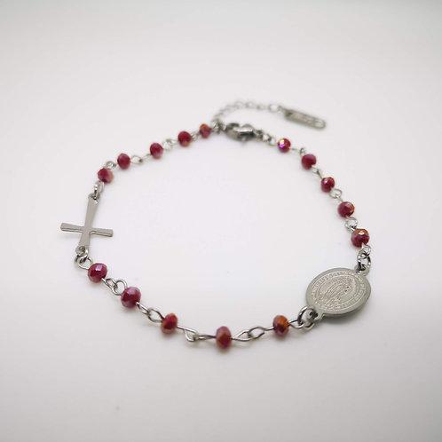 Bracciale rosario acciaio cristalli rosso