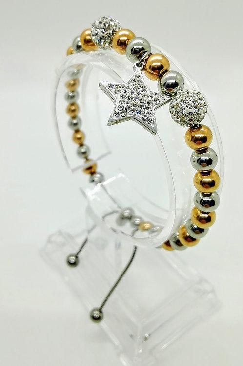 Bracciale acciaio a pallini bicolor e pendente stella con strass