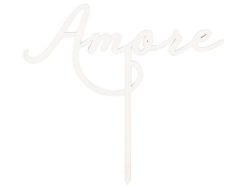 "Cake topper bianco scritta ""Amore"""