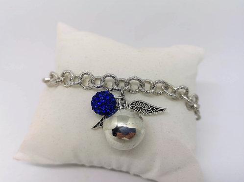 Bracciale chiama angeli argento strass blu