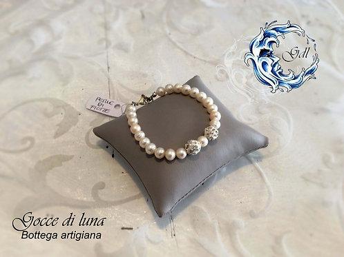 Bracciale perle bianche e strassball