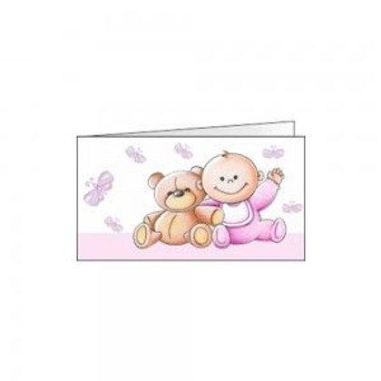 Bigliettino bimba e orsetto rosa