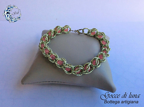 Bracciale gabbia verde e rosa