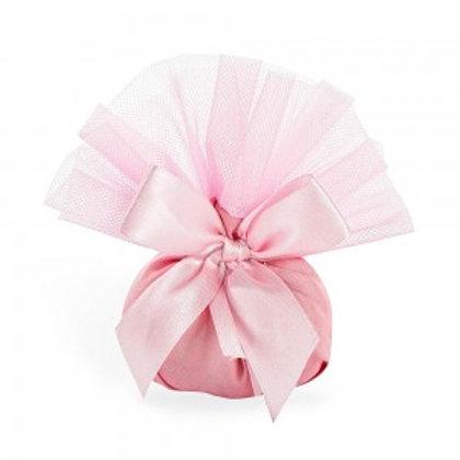 Sacchetto doppia piega con tulle rosa