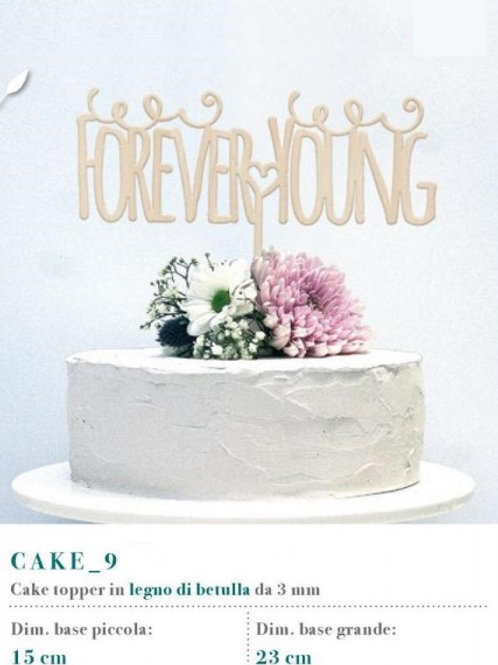 """Cake topper scritta """"Forever Young"""""""