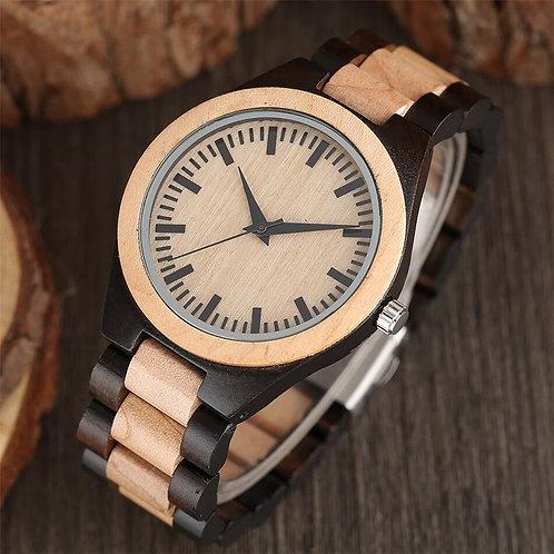 Orologio in legno naturale bicolor chiaro scuro