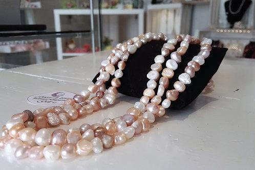 Collana perle misto colore tripla
