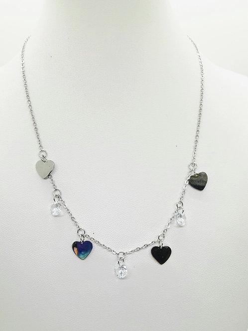 Collana acciaio cuori silver e cristalli