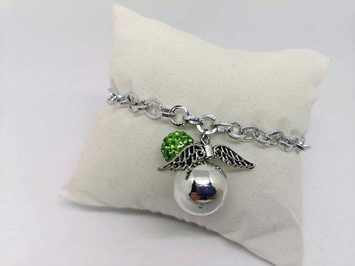 Bracciale chiama angeli argento strass verde