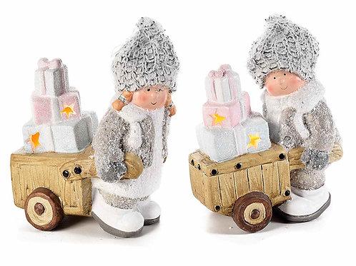 Bambino in ceramica con carretto e pacchi regalo luce led