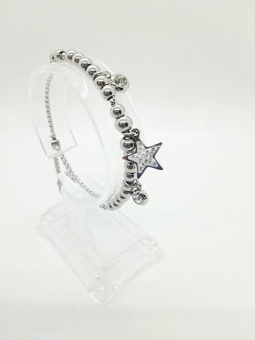 Bracciale in acciaio con pendente a stella e strass