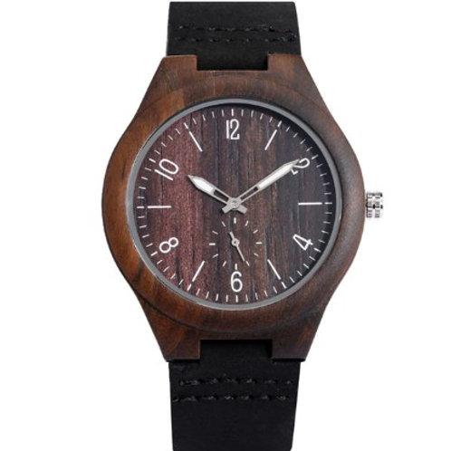Orologio in legno naturale scuro  e cuoio nero