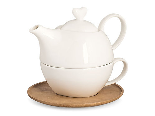 teiera con tazza porcellana