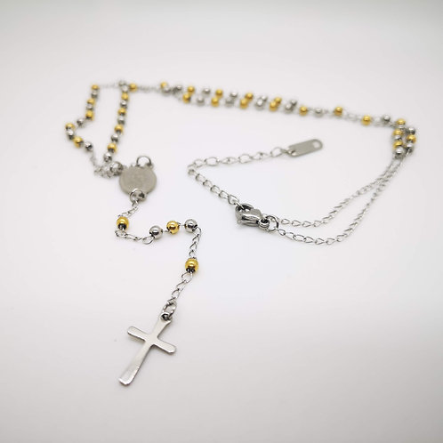 Collana rosario acciaio palline acciaio bicolor
