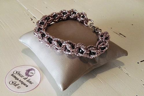 Bracciale gabbia rosa e viola