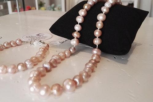 Set Collana e bracciale perle malva