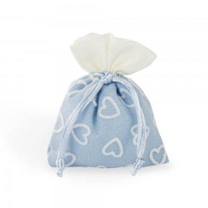 Sacchetto azzurro con cuori bianchi
