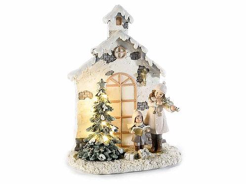 Casetta natalizia resina con bambini e luci led bianco caldo