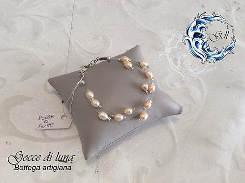 Bracciale perle rosa e filo trasparente