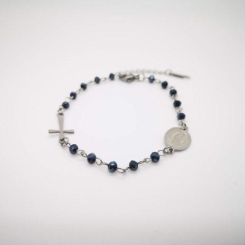 Bracciale rosario acciaio cristalli neri