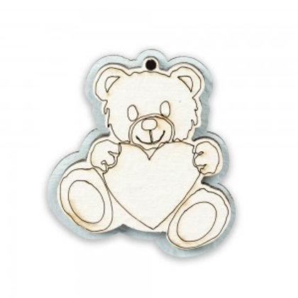 Applicazione bomboniera magnete nascita bimbo orsetto in legno
