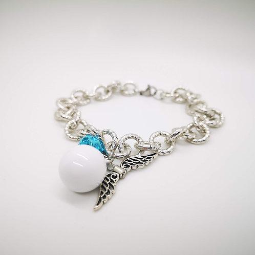 Bracciale chiama angeli smaltato bianco strass azzurro mod.3