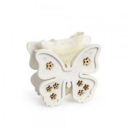 Portaconfetti Legno Farfalla Con Sacchetto Bianca