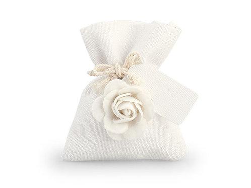 Sacchetto bianco con rosa piccolo